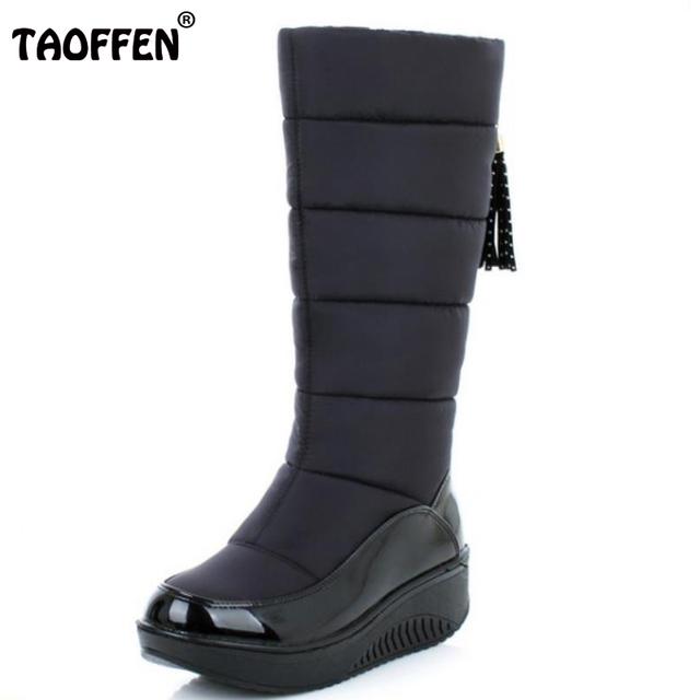 Señora Caliente Del Invierno de la Nieve Botas de Plataforma de La Moda de Piel de Algodón Zapatos Planos zapatos de Tacón Alto Rodilla Botas de Las Mujeres de Cuero de La Pu Botas Size35-40