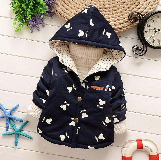 Kids 2017 fall winter clothes for boys girls baby outerwear child windbreaker jacket fashion cotton-padded coat mickey minnie