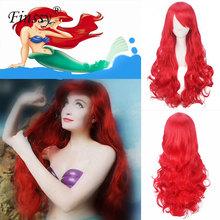 Mała Syrenka Księżniczka Ariel Cosplay Peruka dla Kobiet Halloween Costume dla Dziewczyny Grać Peruka Party Stage Red Długie Włosy tanie tanio Ogon Unisex Ariel Wigs spandex Kostiumy