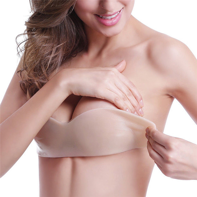 Backless Bra Underwear Bandage Self-Adhesive Brallete Push-Up Silicone Women New Solid