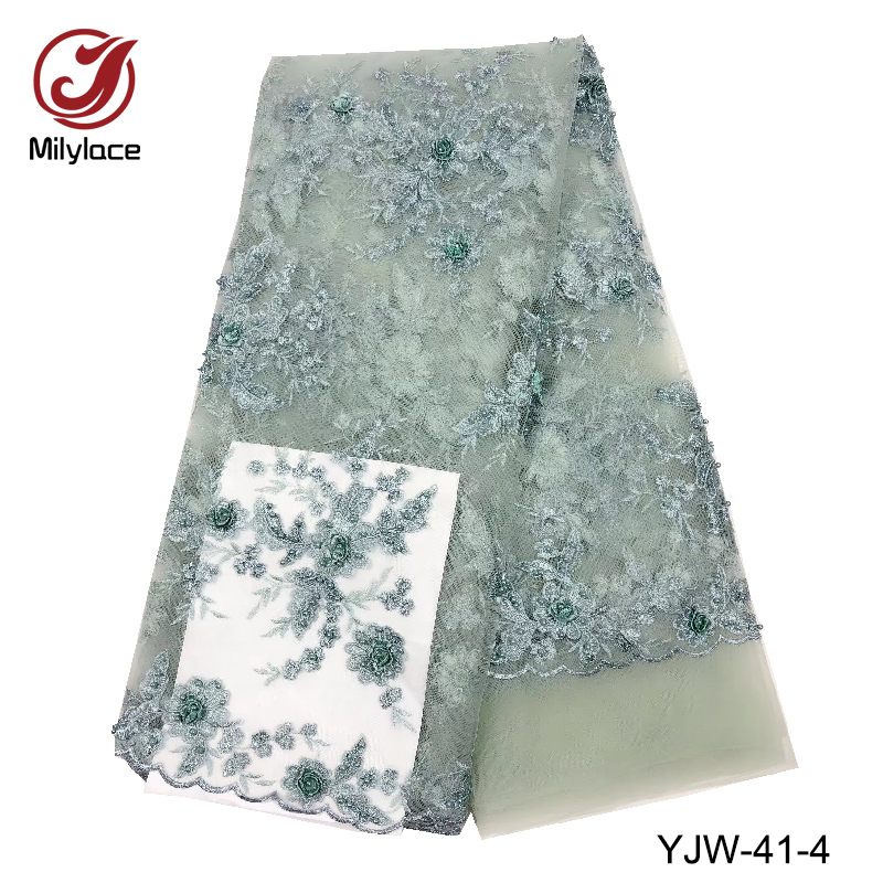 Light green beaded french lace fabric 5 yards per african bridal lace fabric with beads for