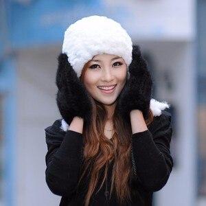 Image 4 - Guantes de invierno para mujer, manoplas de 100% piel de visón auténtica auténtico, de punto, gruesos y cálidos, para invierno