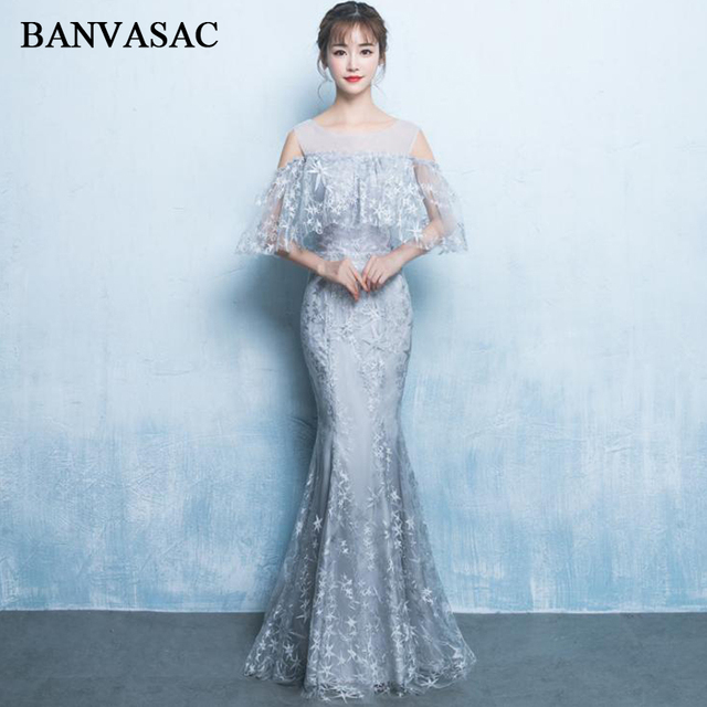 0387a1491f7 BANVASAC 2018 O Neck Stars Embroidery Mermaid Long Evening Dresses Lace  Half Sleeve Backless Party Prom Gowns