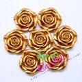 50 Pçs/lote 42 MM (F27) impressão Ouro Chunky Resina Rosa Flor Com Furos Para Crianças Meninas Bubblegum Jóias Decoração de Natal DIY