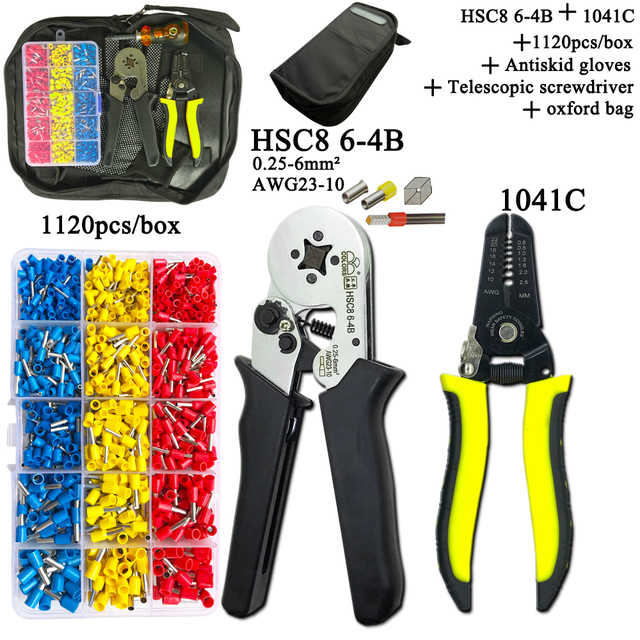 Electrician Pliers Junction Box Mini Pliers Tool Kit HSC8 6 4 0.25 6mm2 23 10AWG Crimping Wire Stripping:10 24awg 0.2 6.0mm2