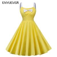 Enyuever Vestido Vintage Dress Women Yellow 50s Swing Spaghetti Strap Pin Up Robe Rockabilly Dress Casual Party Jurken Sundress
