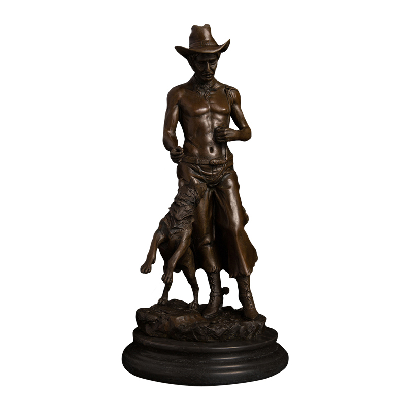 cating bronze metal sculpture western design cowboy and dog figurines sculpture for table decoration