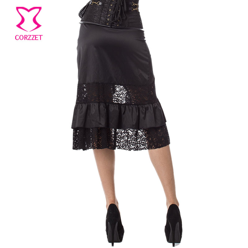 Vintage Punk Black Ruffle and Hollow Out Floral Lace Plus Size Women - Women's Clothing - Photo 4