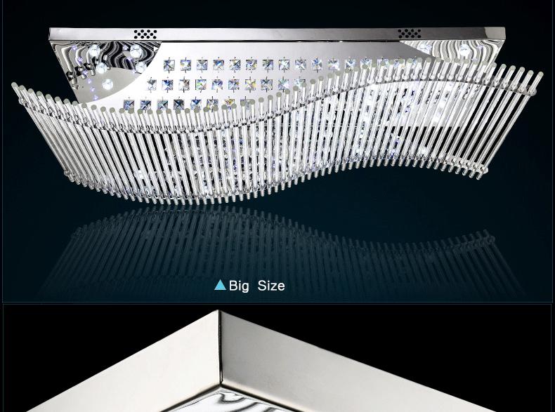 Luxury 4 Color Smooth Sailing Led Lamp K9 Crystal Modern Square Led Ceiling Lights (14)