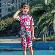 AONIHUA Two Piece Swimsuit Kids Cartoon Pattern swim wear Short Sleeve Waterproof Floral Back Zip Chidren Girls Swim Suit