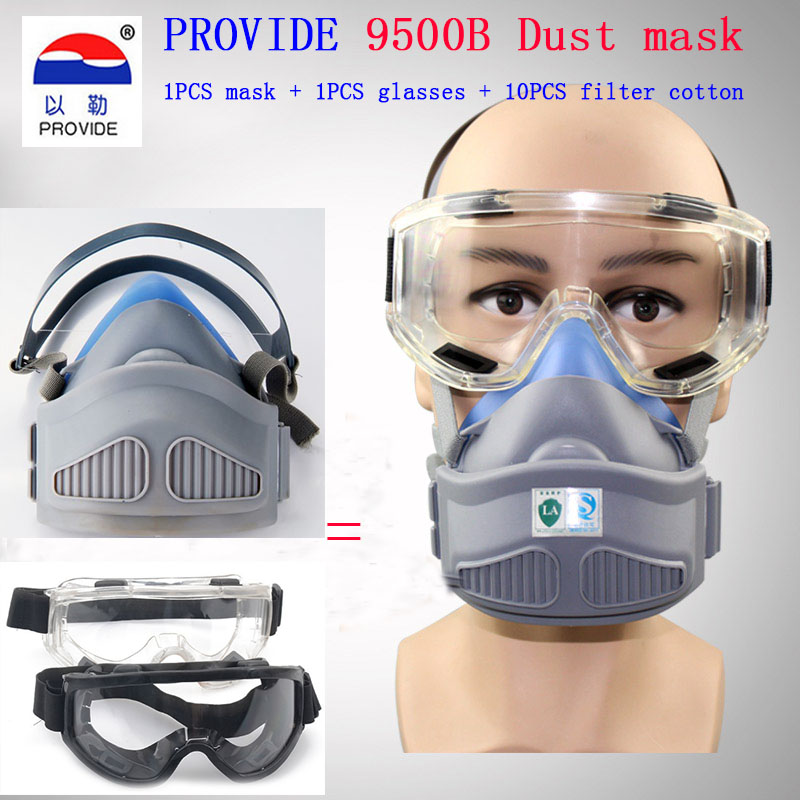 PROVIDE dust mask + Goggles high quality respirator dust mask With 10 filter cotton dust smoke dust respirator provide respirator dust mask high quality gray dust mask 10 piece filter cotton painting welding respiration mask