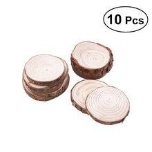 10 pièces 8-9CM dalle de bois plateau de service avec écorce pour fromage, craquelins, et hors-d 'œuvre mariage décor de noël