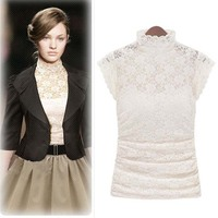 Fashion Summer Stand Collar Plus Size Good Elastic Slim Sexy Sweety Lace Short Sleeve Tee Shirt