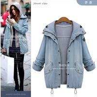 2015 Autumn Women Casual Two Piece Hoodied Jean Coat Plus Size Thick Windbreaker Outwear Coat Giacca