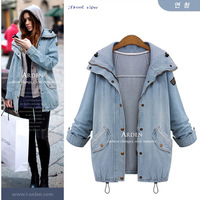 2015 Autumn Women Casual Two Piece Hoodied Jean Coat Plus Size Thick Windbreaker Outwear Coat Giacca