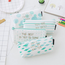 1x korean Geometric pen bag kawaii pencil bag big capacity PU stationery cute pencil box Pencil case School office Supplies