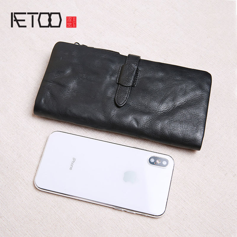 AETOO Wallet men's long section leather casual retro leather buckle wallet large capacity ladies zipper wallet tide soft leather 1 black pu leather ladies long section of ultra thin magnetic buckle multi card wallet wallet size about 19 9 5 2cm