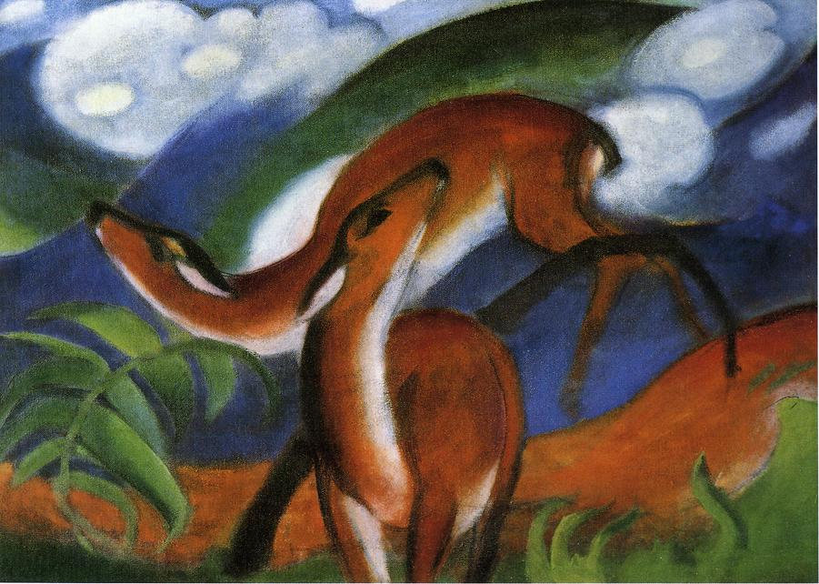 High quality Oil painting Canvas Reproductions Red Deer II 1912 By Franz Marc  hand paintedHigh quality Oil painting Canvas Reproductions Red Deer II 1912 By Franz Marc  hand painted