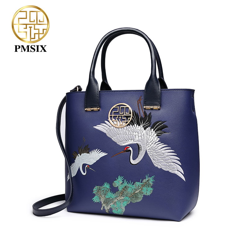 Pmsix 여성을위한 새로운 패션 수 놓은 핸드백 고급스러운 숙녀 다목적 pu 블루 어깨 가방 동물 인쇄 메신저 가방-에서탑 핸드백부터 수화물 & 가방 의  그룹 3