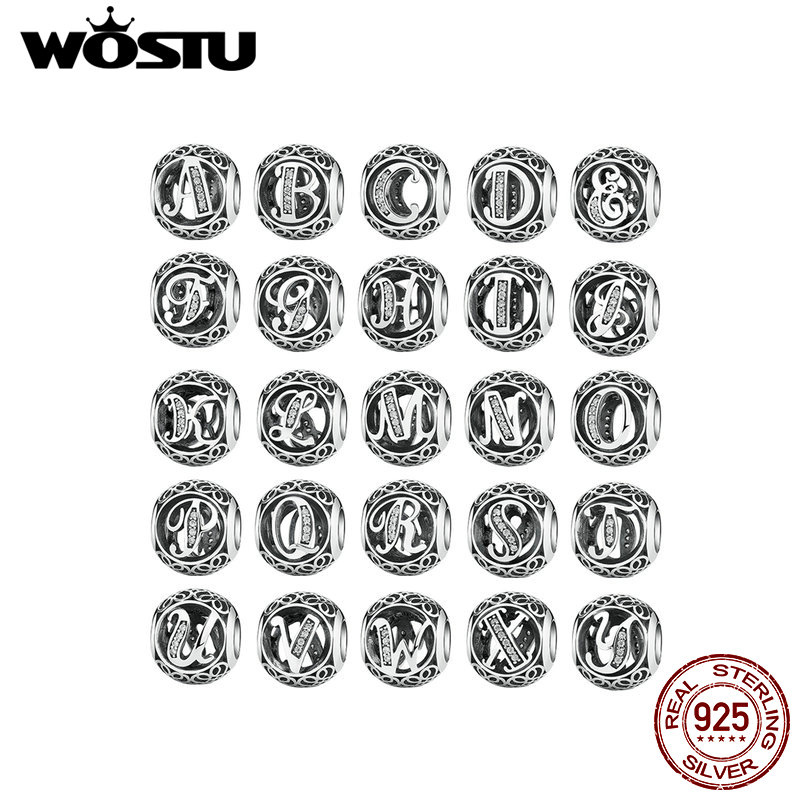 1PC Letter A-Z WOSTU Genuine 925 Sterling Silver Openwork Gothic Vintage Clear CZ Alphabet Bead Charms Fit Original Bracelet