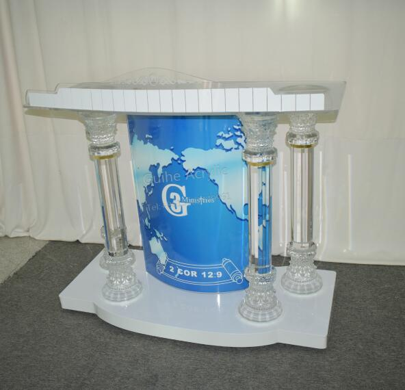 Crystal Column Acrylic & PMMA Podium W/ Casters, Floor Standing Lectern, Elevated Reading Surface, Rolling Pulpit GH-A038