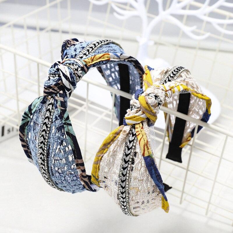 Haimeikang Women Center Knot Wide Hair Bands Girl Headband Lace Hollow Hair Band Boutique Hair Hoops For Tiara   Headwear