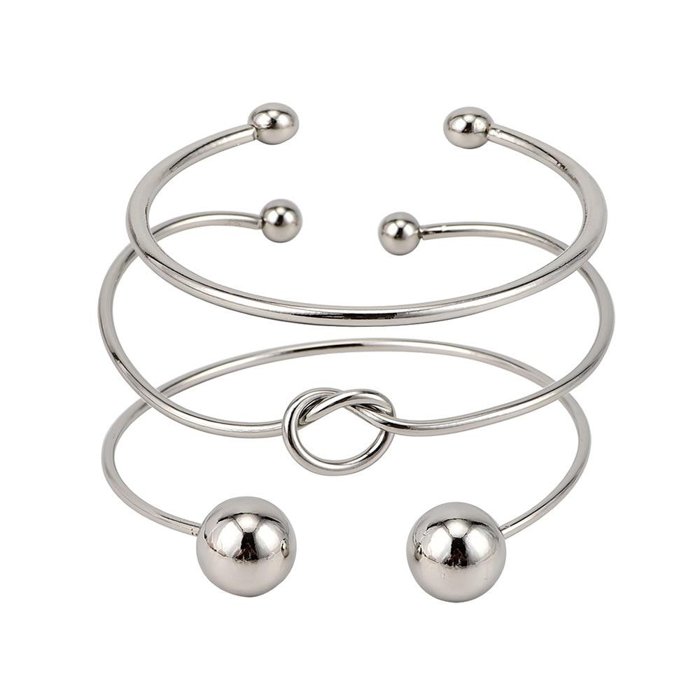 3 pcs/set Bohemia Vintage Bangle Silver Knot Ball Open Silver Bracelet for Women Party Wedding Accessories Fashion Accessories