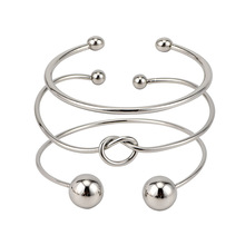 3 pcs/set Bohemia Vintage Bangle Silver Knot Ball Open Silver Bracelet for Women Party Wedding Accessories