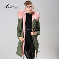Factory wholesale price Women's Vintage Retro Fur Hooded Military Parka Jacket Coat with pink lined and collar fur mr