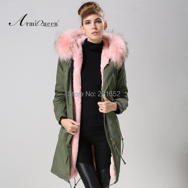 Factory wholesale price Women's Vintage Retro Fur Hooded Military Parka Jacket Coat with pink lined and collar fur mr 1