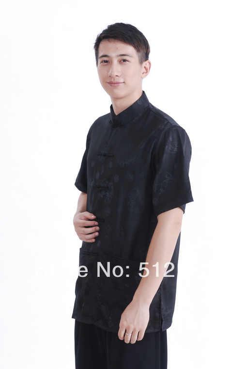 上海ストーリー新しい販売サテンシャツ中国伝統clothing中国clothingカンフーシャツ黒