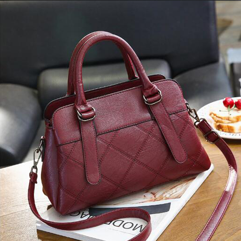 Di Dell'annata Bag Bag Delle pink Top Cuoio Spalla Bag Red grey Del Della Raccoglitore Black Women Bag Sacchetto wine Borsa handle Messaggero Tote Casual 2018 Modo Sacchetti Nero Donne Per BS8qSwrxt