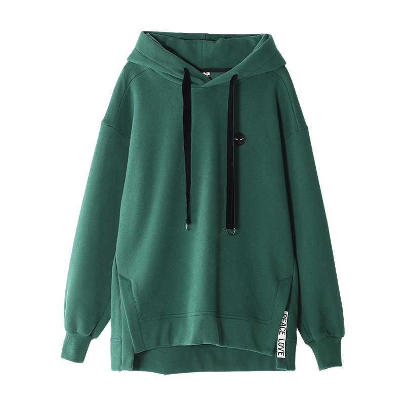 Sudaderas negras Toyouth para mujer otoño Casual bordado suelto novio estilo polar pulóveres mujer verde Hoodies