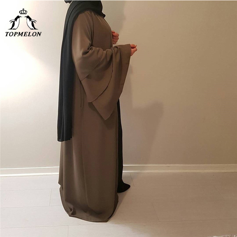 TOPMELON Chiffon Muslim Dress Womens Open Abaya Long Trumpet Sleev Hijab dress Elegant New Fashion Robes for Dubai Women