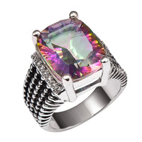Huge Rose Rainbow Crystal Zircon With Multi White Crystal Zircon 925 Sterling Silver Ring and Men Size 6 7 8 9 10 11 F1511