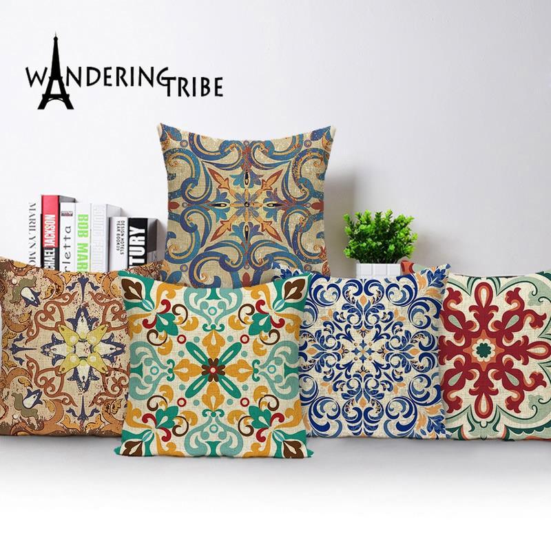 Bohemian Sofa Cushions Farmhouse Decor Linen Pillow 45*45 Vintage Decorative Cushion Cover Custom Jacquard Geometric Pillowcase