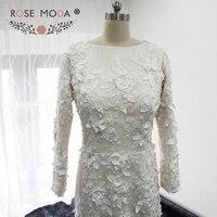 Modest Dài Tay Áo 3D Ren Mermaid Wedding Dress với Pearls Ngà trên Champagne Lace Bridal Gown Custom Made