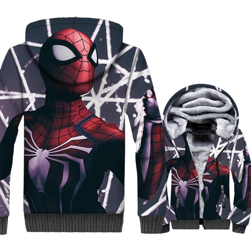 Super Hero Spiderman Warm 3D Jackets 2019 Hot Sale Winter Men Hoodies Thick Fleece Outwear Men's Sweatshirts Harajuku Hooded