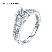 StrollGirl Luxury 100% 925 Sterling Silver Double Zircon Stone Finger Ring for Women Wedding Party Gifts Jewelry free shipping