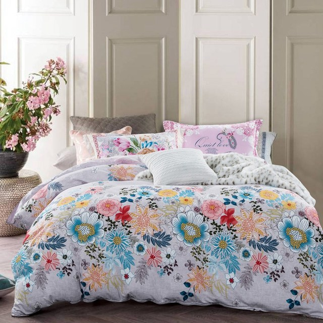 Tutubird Floral Duvet Covers Tropical Leaf Print Bedding