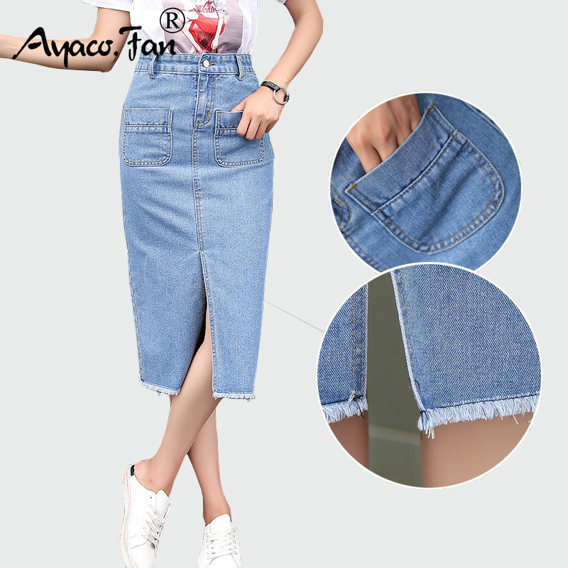New 2019 Spring Summer Package Hip Skirt Slit Jeans Skirts Women Step Denim Skirt Slim Female Lady Waist Skirts Long Skirts
