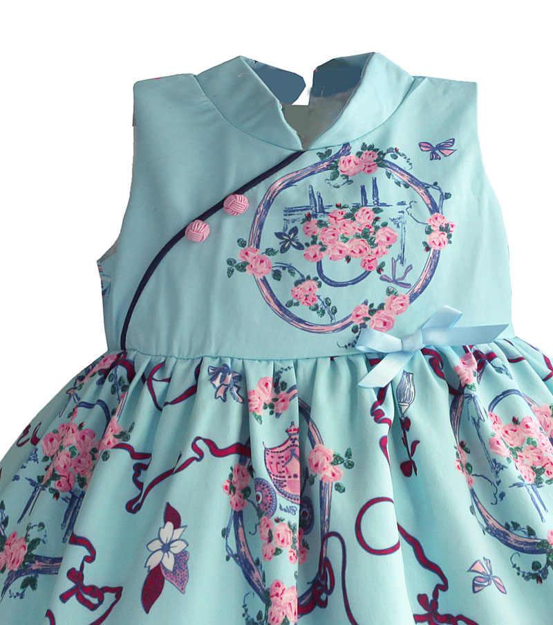 Vestidos de estilo chino para niñas, vestido azul claro Retro Flora para niños, vestido de princesa de satén de seda, ropa para niños, disfraz para 1-8T