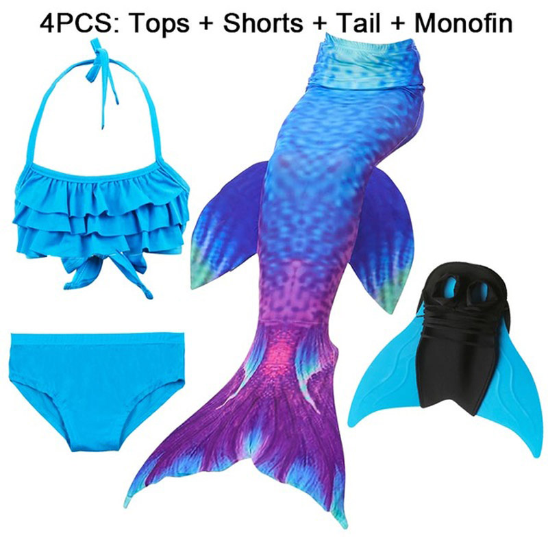 4PCS 2019 New Children Mermaid Tails with Monofin Kids Costumes Girls Swimming Mermaid Tail Mermaid Swimsuit Flipper for girls