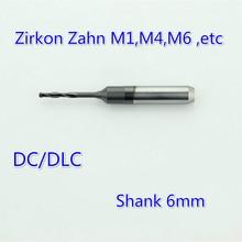 1Pcs DC DLC Coating 6mm Shank ZirkonZahn Milling Bur Dental Cutter Drill Tools Zirconia Materials