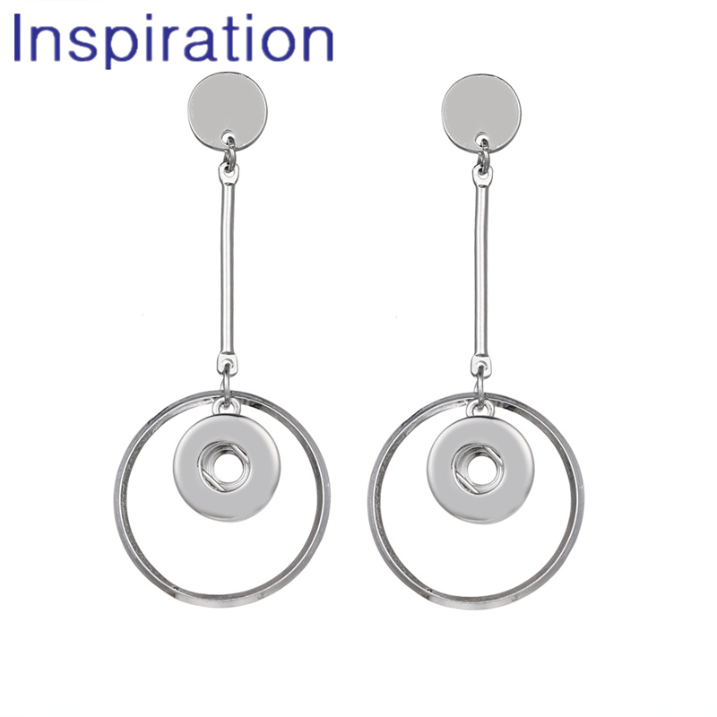 Trend Fashion Statement Long Earrings Round Dangle Snap Earrings fit DIY 12MM Snap Buttons Jewelry image