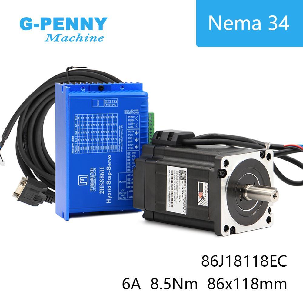 Nema34 Closed Loop Motor 8.5Nm Híbrido Stepping Motor Híbrido Nema Motor 34 6A 1200Oz-in Driver de Motor DC (40- 110 V) /AC (60-80 V)