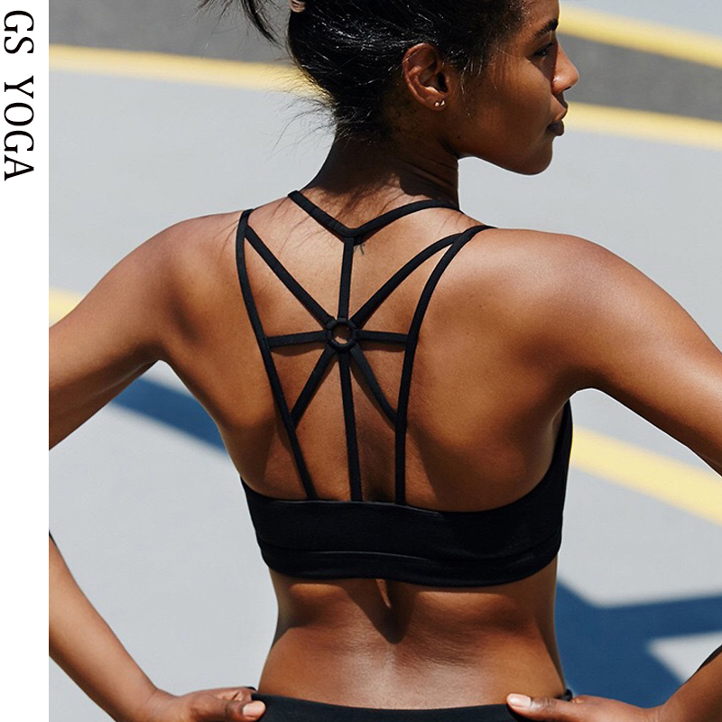 af855f31f9 Women Push Up Sexy Sports Bra Cropped Crop Top Cross Wide Elastic Straps  Fitness Yoga Bra