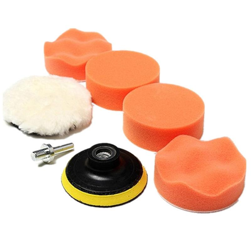 6pcs Sponge & Woolen Polishing Waxing Buffing Pads Kit Auto Car with M10 Drill Adapter