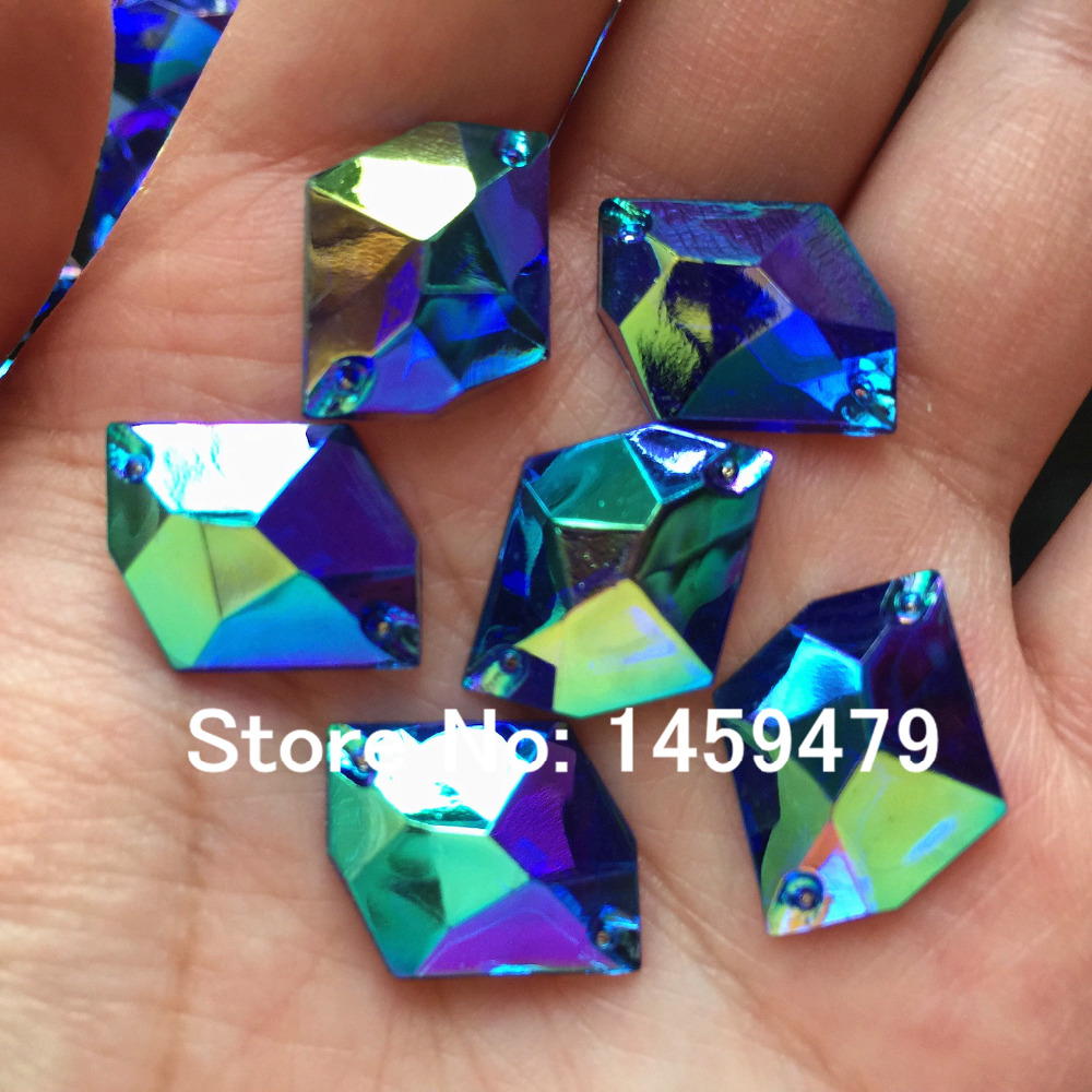 25PCS Deep Blue AB 16X21mm Rhombus Acrylic Rhinestones Acryl Strass Diamond  Gem Stone For Sewing Wedding 732fad5d1ed1