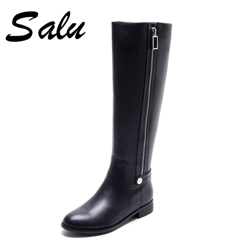 Salu 2018 New genuine leather high boots black shoes woman winter sexy square heels round toe zip big size 9 10 11 tda8357j zip 9